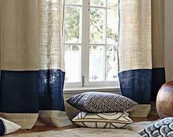 2 Tone Curtains Navy Burlap Curtains Etsy
