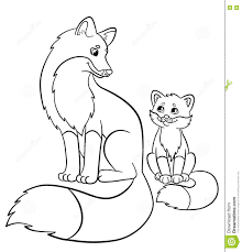 coloring pages wild animals mother fox with her little cute baby