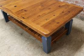 rustic coffee table with slatted shelf ecustomfinishes