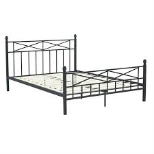 full size matte black metal platform bed frame with headboard