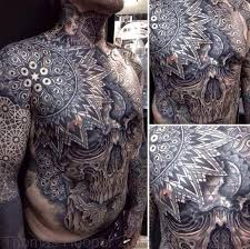 Tribal Torso - intricate tribal and skull torso and sleeve by