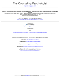 Counseling Psychology Research Articles Counseling Psychologists As Social Justice Agents Pdf