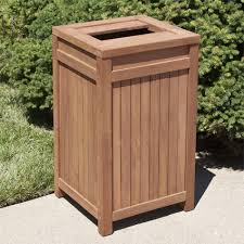 teak outdoor square trash can outdoor