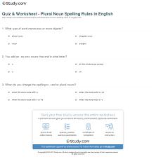 quiz u0026 worksheet plural noun spelling rules in english study com