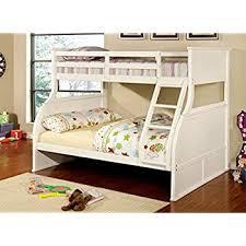 Amazoncom Furniture Of America Brenna TwinFull Bunk Bed White - Furniture of america bunk beds