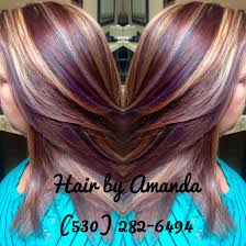 red brown golden blonde and violet highlights beauty by