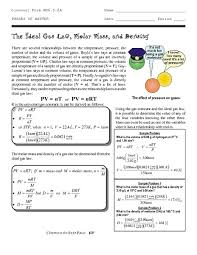 the ideal gas law molar mass and density 9th 12th grade