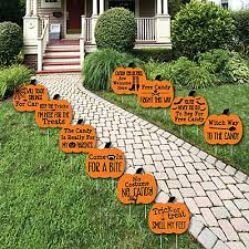 Funny Outdoor Halloween Decorations by Funny Trick Or Treat Pumpkin Lawn Decorations Outdoor