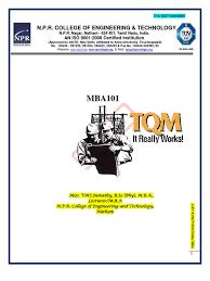 tqm notes 06me758 quality management six sigma