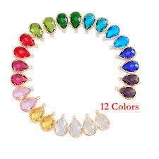 birthstone pendants for wholesale 12 assort colors faceted framed glass bezel connector cz