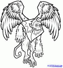 flying monkey wizard oz coloring coloring pages