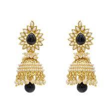 jhumki earring youbella traditional copper style pearl jhumki earrings