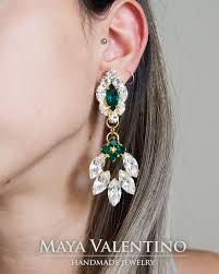big earing bridal chandelier earring bridal earring big earring emerald