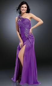 one shoulder floor length pleats split purple prom dresses 2014 on