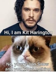 John Snow Meme - hi iam kit harington ighuniverseofthron no you re jon snow and you