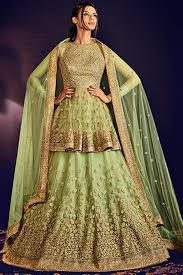 pista green color paaneri designer dark sea green color net embroidery unstich