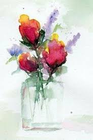 Drawings Of Flowers In A Vase Abstract Flower Watercolor Painting Pink Red Poppy Poppies