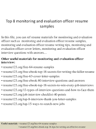 top 8 monitoring and evaluation officer resume samples 1 638 jpg cb u003d1432194972