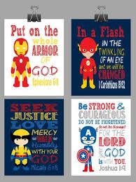 Captain America Decor Set Of 4 Superhero Wall Art Christian Print Captain America