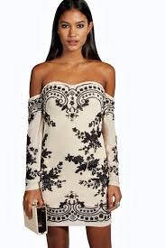 embellished dress boutique embellished shoulder dress boohoo