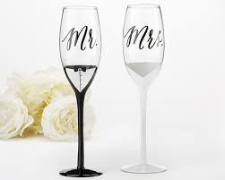 wedding glasses tuxedo and wedding gown mr mrs toasting flutes