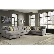 Ashley Furniture Leather Sectional With Chaise Ashley Furniture Cresson Laf Corner Chaise Sectional In Pewter