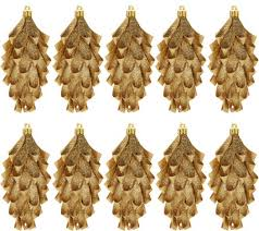 set of 10 glittered ribbon pinecone ornaments by valerie page 1