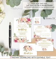 floral wedding invitation template white boho chic wedding invite