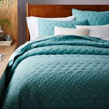 turquoise quilted coverlet mid century circlet ogee quilt shams west elm