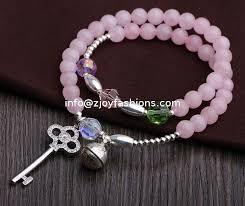 pink quartz bracelet images Sterling silver key charm rose quartz bracelets pink gemstone jpg