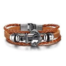 anchor bracelet men images Vintage anchor bracelet black genuine braided leather charm jpg