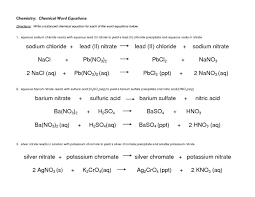 chemistry chemical word equations worksheet answers free
