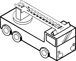 fire truck isometric view coloring page wecoloringpage