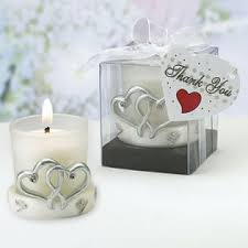 candle favors heart candle holder wedding favors