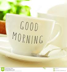 text good morning on a cup coffee or tea stock photo image