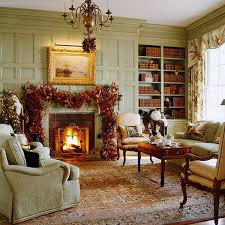 living room red and blue christmas tree fireplace mantel shelves