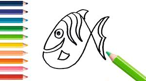 how to draw fish learning coloring book for kids learning
