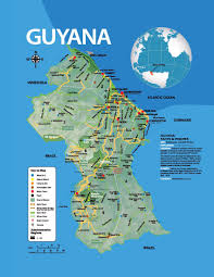 guyana on world map large tourist map of guyana with other marks guyana south
