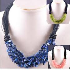 natural stone beads necklace images Natural stone beads necklace with black detail jpg