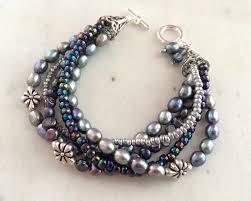 multi pearl bracelet images Multi strand pearl bracelet peacock blue freshwater pearls multi jpg