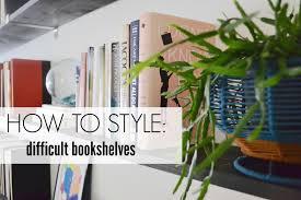 Pretty Bookshelves by Styling Difficult Bookshelves Design Post Interiors
