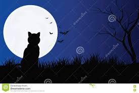 silhouette of cat with full moon halloween scenery stock vector