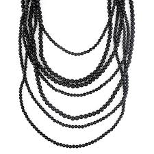 black necklace long images Multi layer black bead necklace bold statement necklace by jpg