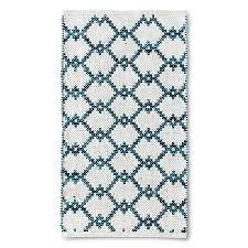 lattice teal cream rug