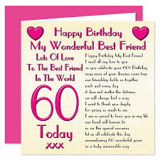 60 Birthday Cards Best Friend 60th Happy Birthday Card Lots Of Love To The Best