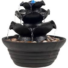 Fountains For Home Decor Indoor Water Fountain With Led Lights Lighted Three Tier Soothing