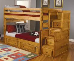 kids full size bunk bed with storage made of nature wood decofurnish