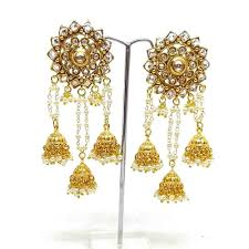 jhumki style earrings in gold gold plated floral classic bahubali heavy earring in jhumki