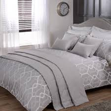 Geometric Duvet Cover Harrison Silver Luxury Jacquard Duvet Cover All Bedding Type