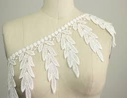 new item large white fringe leaf dangle venice lace trim